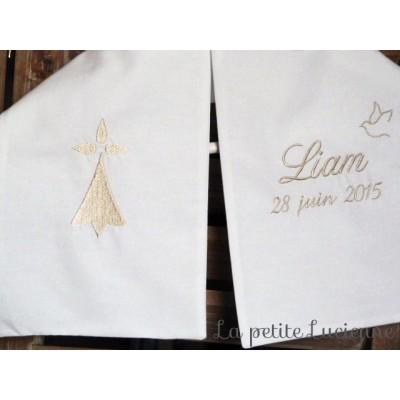 Echarpe brodée de baptême breton: hermine bretonne brodée (modèle E)