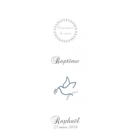 Signet de baptême Colombe bleue