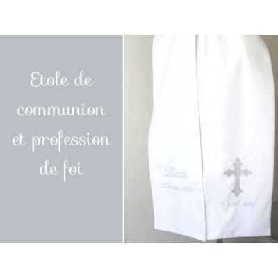 Etole de communion brodée date de baptême et communion