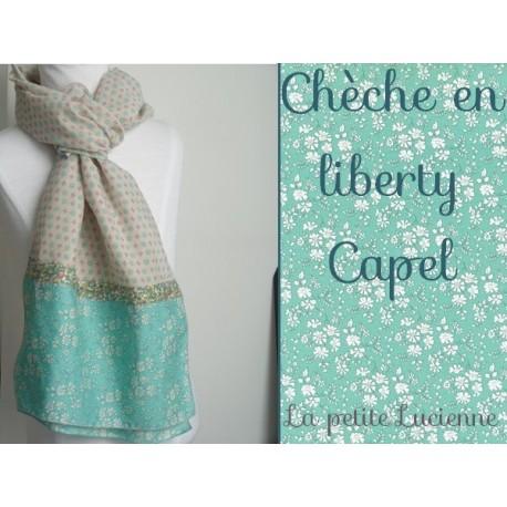 Foulard en liberty Betsy Céladon et liberty capel turquoise- épuisé