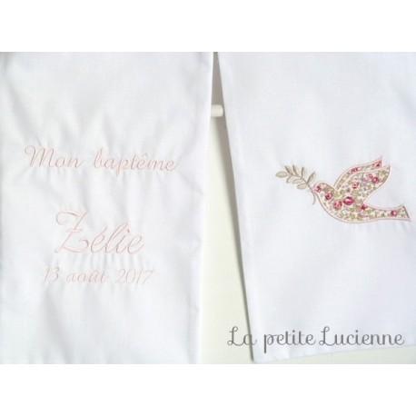 Linge blanc de bapteme en liberty- Etole blanche brodée (modèle K)