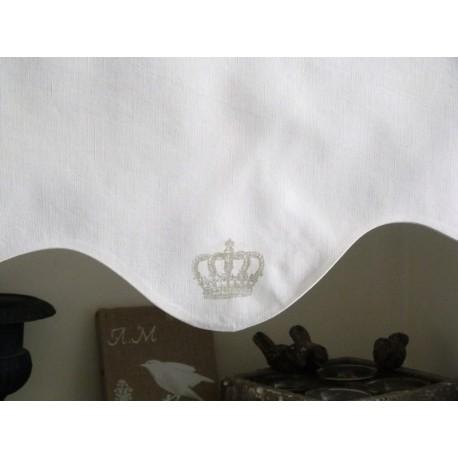Promotion rideau cantonnière en linge ancien et couronne sérigraphiée