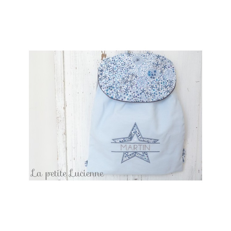 code promo 27794 37a10 Sac à dos brodé enfant en liberty Adelajda bleu personnalisé