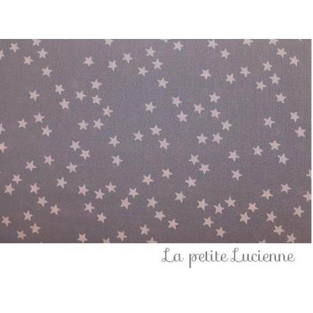 Batiste grise étoiles roses
