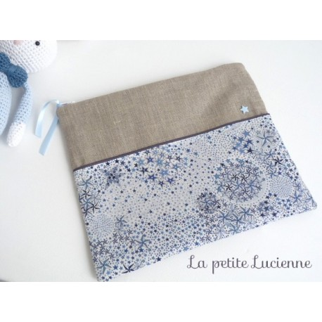 Trousse en liberty Adelajda bleu et lin