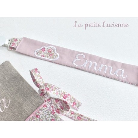 Attache tétine brodé Liberty Eloise