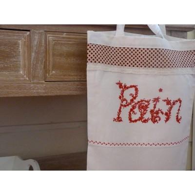 MARGAUX: sac à pain rouge et lin