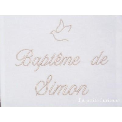 Linge blanc pour baptême personnalisé (modèle R)