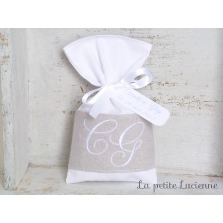 Ballotin en lin lavé gris perle mariage monogramme