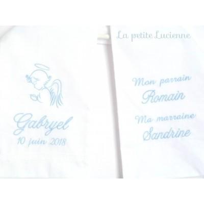 Echarpe blanche pour bapteme (modèle T)