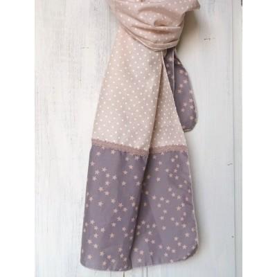 Chèche en voile de coton à pois et étoile pêche et gris