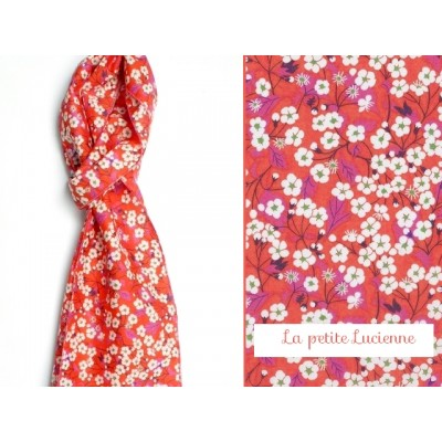 Foulard mini chèche en liberty Misti rouge rose