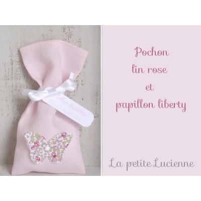 Pochon lin rose papillon liberty