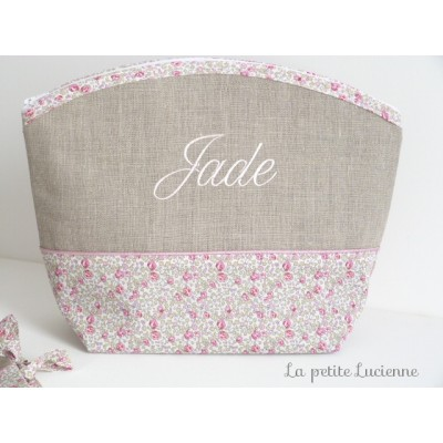 Trousse en  liberty rose Eloise