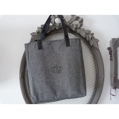 Cabas porté épaules QUEEN: toile grise et anses en cuir