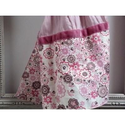 Chèche en  Liberty lauren rose et voile de coton rose