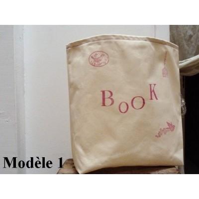 Sac à livres BOOK crème et rose