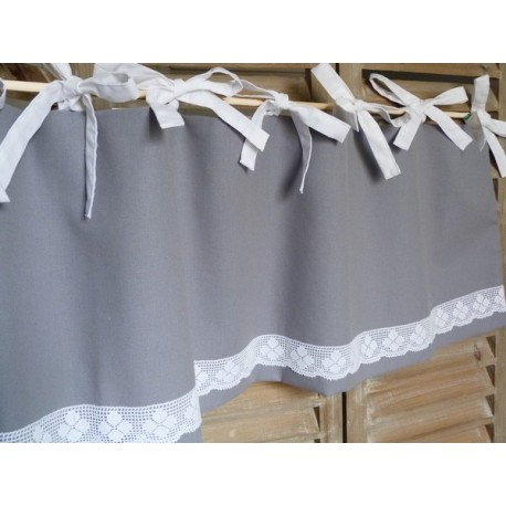 Cantonnière en coton gris