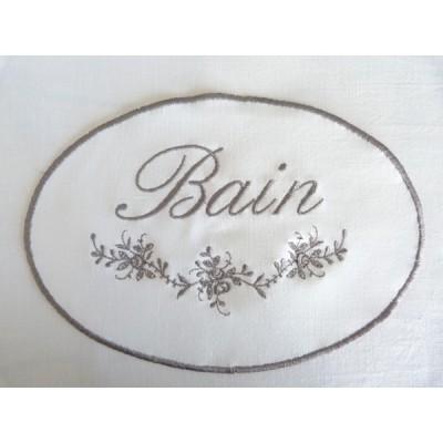 """Monogramme médaillon brodé """"Bain"""""""