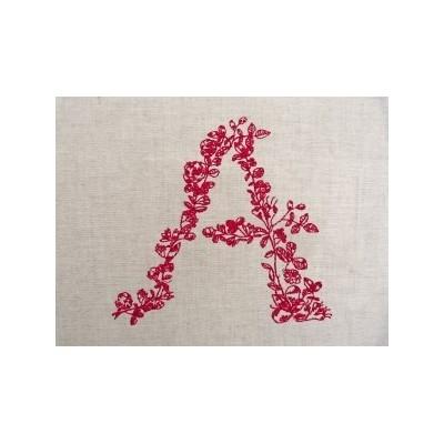 REDWORK FLEURI: monogramme à coudre