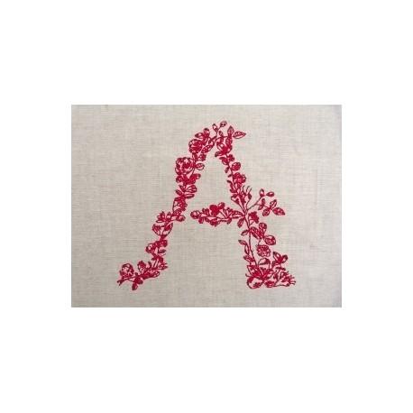 Monogramme fleur rouge