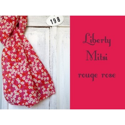 Chèche foulard en liberty Mitsi Rouge Rose