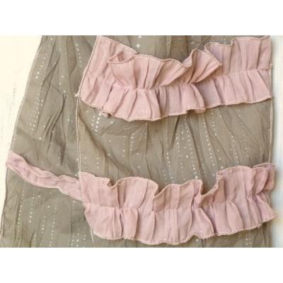 Chèche en coton froissé taupe et rose
