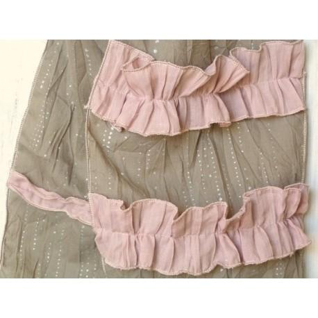 Chèche en coton froissé rose